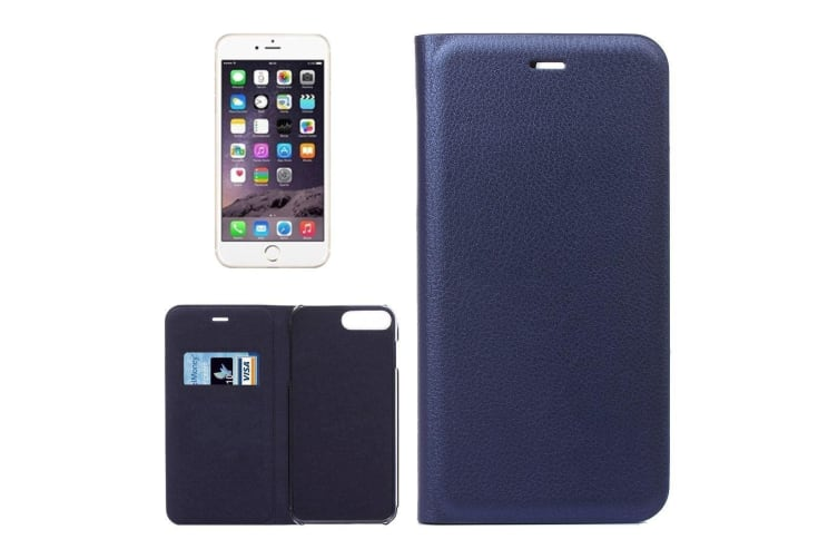 For iPhone 8 PLUS 7 PLUS Wallet Case Elegant Lychee Leather Cover Dark Blue
