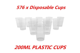 576 x 200ml Disposable Clear Hard Plastic Tumblers Cups Cup Party Wedding Events