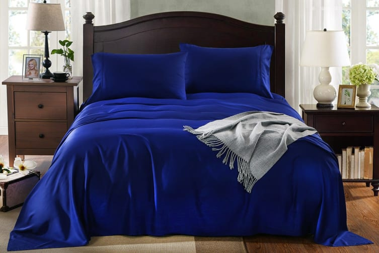 Royal Comfort 100% Natural Bamboo Bed Sheet Set (King, Indigo)