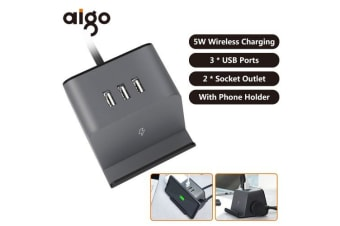 Xiaomi Aigo 5W Wireless Charger Socket With Phone Bracket Holder 3 USB Ports Extended Line Sockets 3D Mini Power Strip Socket Outlet-black
