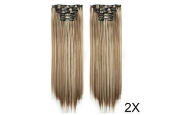 "TODO Twin 24"" Blonde Brown Highlights Straight 6Piece 17Clips Extension 2X"