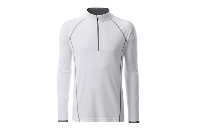 James and Nicholson Mens Long Sleeve Sports Top (White/Silver) (XXL)