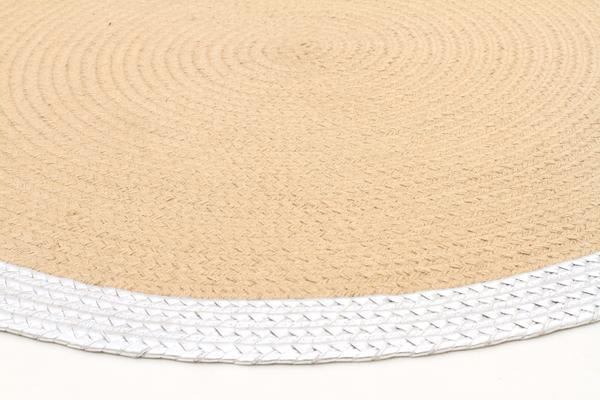 Milano Metallic Silver and Natural Jute Rug 150x150cm