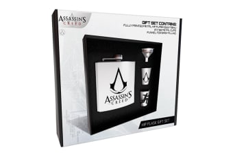 Assassins Creed Logo Hip Flask Gift Set (Black/White/Silver)