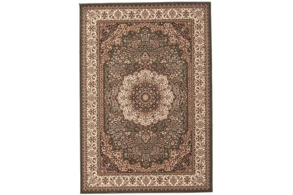 Stunning Formal Medallion Design Rug Green 290x200cm