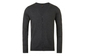 SOLS Mens Griffith V Neck Long Sleeve Cardigan (Charcoal Marl)
