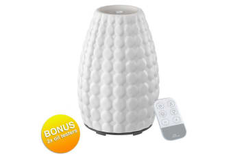 Homedics Ellia Gaze Ultrasonic Aromatherapy Essential Oil Diffuser Lights White