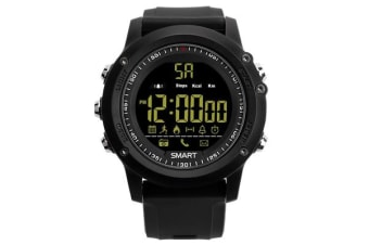 TODO Bluetooth V4.0 Smart Watch 1.1 Fstn Lcd Rechargeable Ip67 Remote Camera - Black