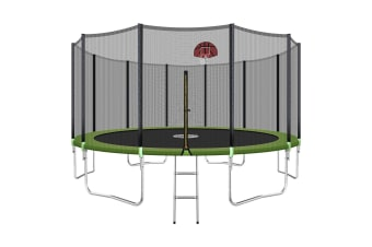 Genki 16ft Round Outdoor Trampoline Set with Safety Enclosure & Basketball Hoop Set & Ladder 150KG