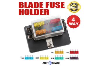 ATEM POWER 4 Way Blade Fuse Box Block Holder LED Warning Light ATC 12V/24V Car Marine