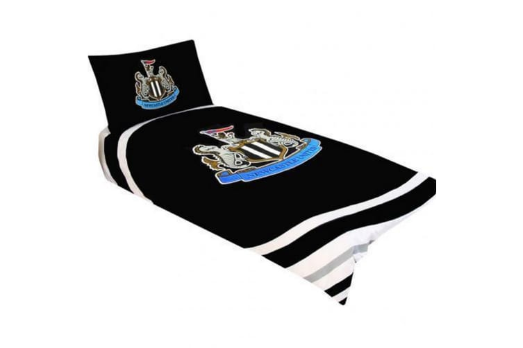 Newcastle United FC Official Single Duvet And Pillowcase Pulse Design (Black/White) (Single)