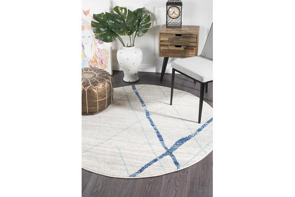 Amelia Blue & Bone Ivory Coastal Durable Round Rug 150x150cm