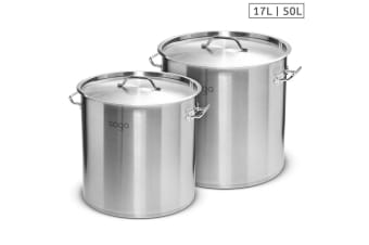 SOGA Stock Pot 17L 50L Top Grade Thick Stainless Steel Stockpot 18/10