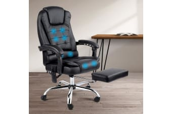 Artiss 8 Point Massage Office Chair Heated Reclining Gaming Chairs Black