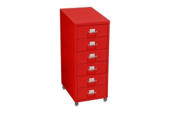 6 Drawers Steel File Cabinet Red