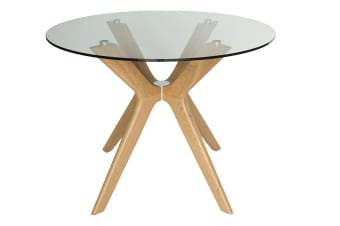 Doreen Collection | Glass Round Dining Table | Natural | 100cm