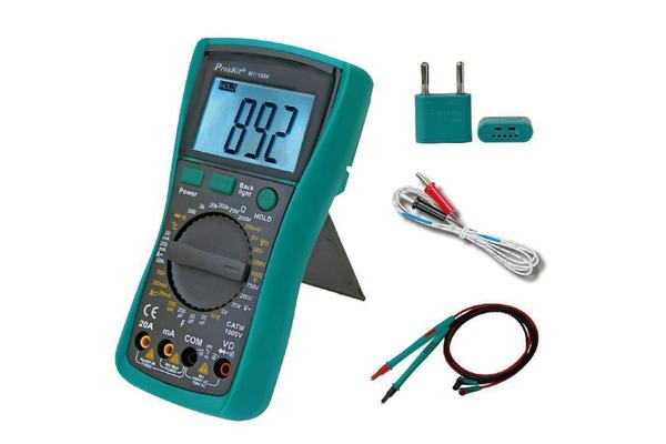 Image of ProsKit 3 1/2 Digital Multimeter With Temperature 1999 Counts CATIII 1000V 20A / 2 Years Warranty