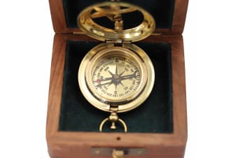 Nautical Brass Sundial Compass with Push Button