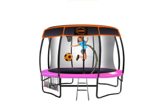 Kahuna Trampoline 12 ft with Basket ball set and Roof-Pink