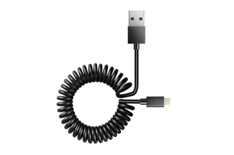 Sansai 1.5m Lightning to USB Sync/Charging Coiled Cable for iPad/iPod/iPhone BLK