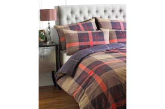 Riva Home Clubhouse Check Duvet Set (Cinnamon) (Double)