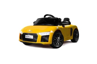 Rovo Kids Kids Ride-On Car Licensed AUDI R8 SPYDER Battery Electric Toy Remote 12V Yellow