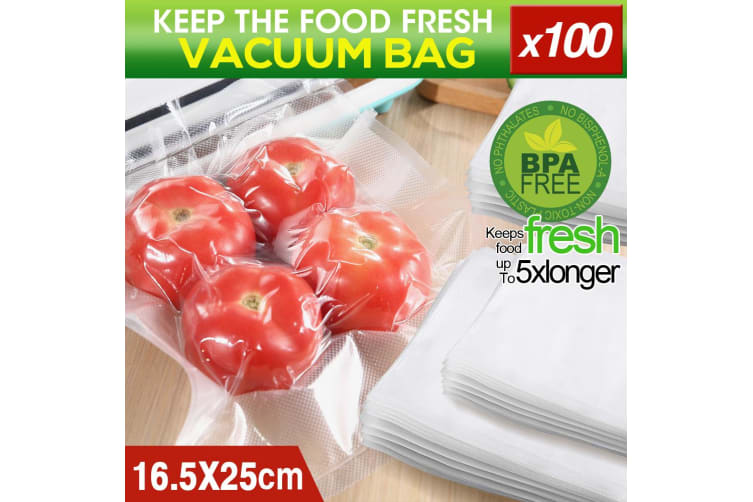 100x Commercial Grade Vacuum Sealer Food Sealing Storage Bags Saver 16.5x25cm  -  16.5x25cm - 100pcs