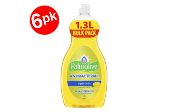 6x Palmolive 1.3L Antibacterial Ultra Dishwashing Liquid/Soap Concentrate Lemon