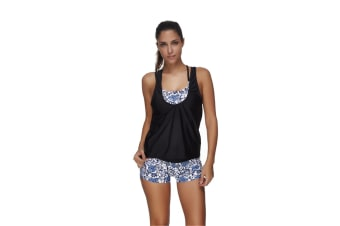 Women'S Sports Bra Print Tankini Swimwear Black Vest With Three Piece Swimsuit - 2 Xl