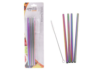 Appetito Set 4 Straight Metallic Rainbow Stainless Steel Straws + Cleaning Brush