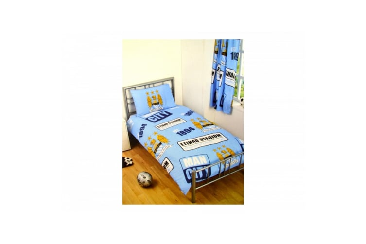 Manchester City FC Official Football Patch Single Duvet And Pillow Set (Light Blue/Gold/White) (One Size)