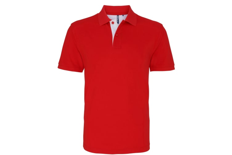 Asquith & Fox Mens Classic Fit Contrast Polo Shirt (Red/ Navy) (S)