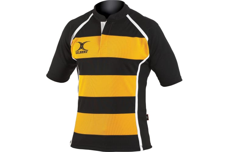 Gilbert Rugby Mens Xact Game Day Short Sleeved Rugby Shirt (Black/ Amber Hoops) (S)