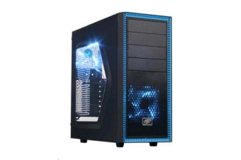 DEEPCOOL Tesseract SW Mid Tower Case with Window - 2x Blue 120mm LED Fans - Black