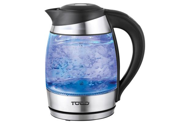 TODO 1.8L Glass Cordless Kettle Electric Blue Led Light Keep Warm 360 Jug Black