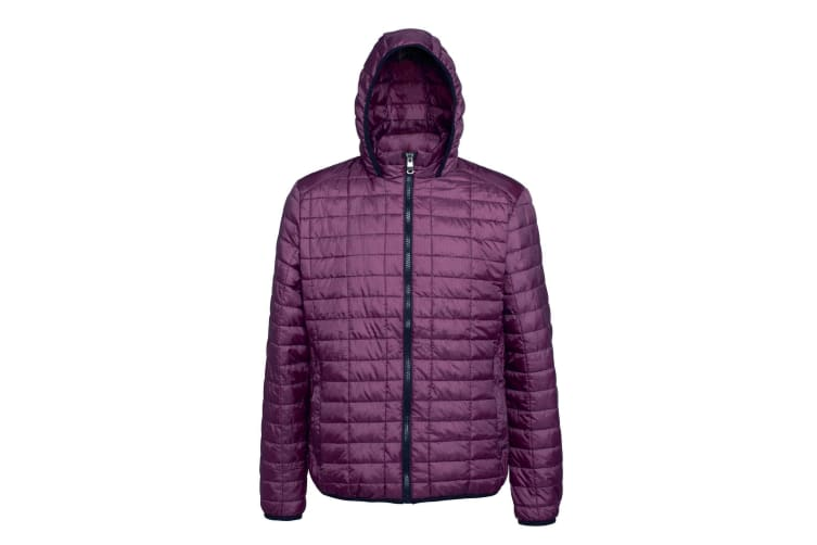 2786 Mens Honeycomb Padded Hooded Jacket (Mulberry) (XL)