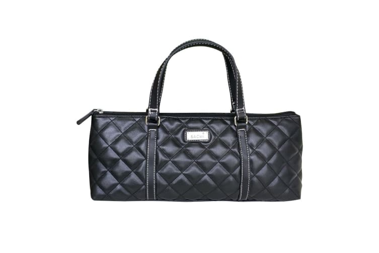 Sachi Insulated Wine Purse Quilted Black