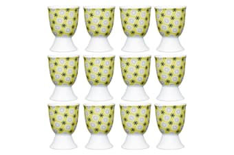 12pc KitchenCraft Floral Yellow Boiled Egg Cup Holder Stand Tableware Serving