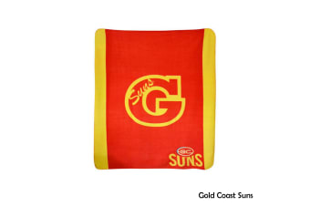 AFL Licensed Polar Fleece Throw Gold Coast Suns