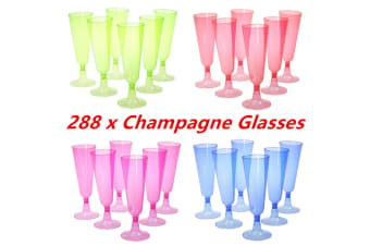 288 x 125ml Colored Disposable Plastic Champagne Flutes Wedding Party Glass Cups