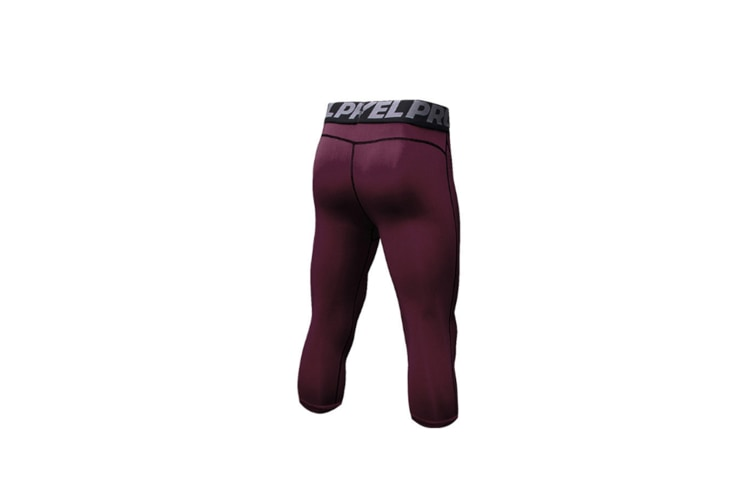 Men'S Compression Capri Shorts Baselayer Cool Dry Sports Tights - Wine Red Red M