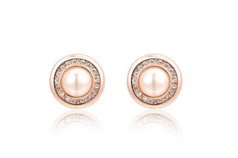 Jewelry Bridal Crystal And Simulated Pearl Button Stud Earrings Rose Gold
