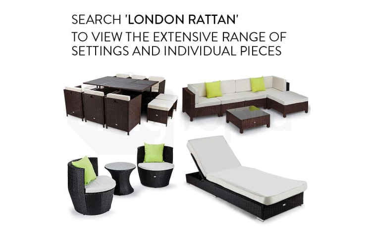 LONDON RATTAN 7pc Sofa Outdoor Furniture Black Wicker Lounge Set Setting Pool