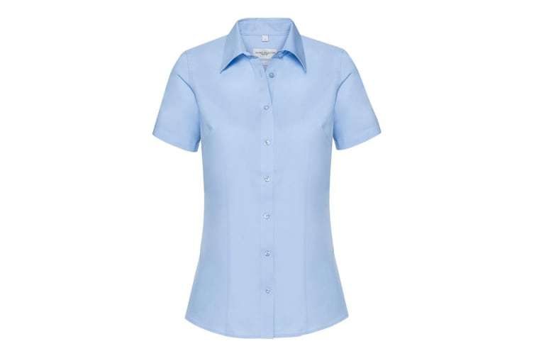 Russell Collection Womens/Ladies Short Sleeve Tailored Shirt (Light Blue Chambray) (3XL)