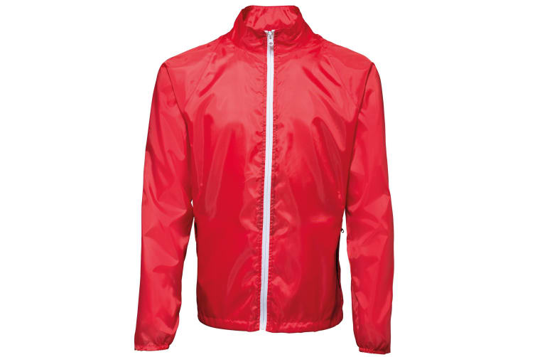 2786 Mens Contrast Lightweight Windcheater Shower Proof Jacket (Pack of 2) (Red/ White) (XL)