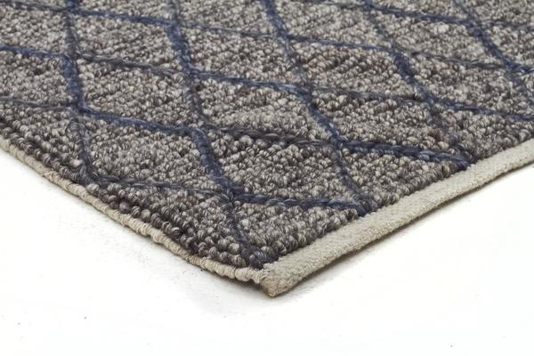 Luxury Madras Felted Wool Rug Blue Grey 320X230cm