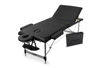 NEW HPF Portable 3 Fold Aluminium Massage Therapy Table Waxing Beauty Bed Black