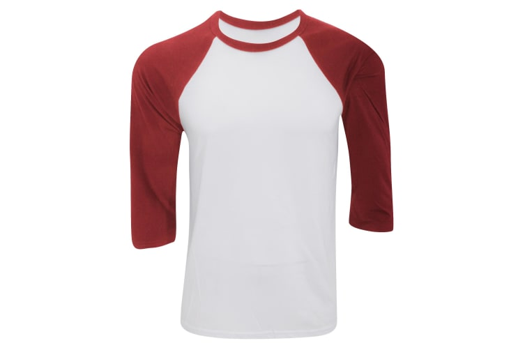 Canvas Mens 3/4 Sleeve Baseball T-Shirt (White/Red) (2XL)