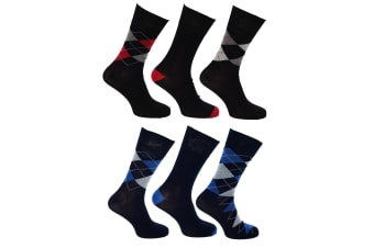 Pierre Roche Mens Premium Collection Pure Natural Argyle Bamboo Calf Socks (6 Pairs) (Multi/Red/Blue)