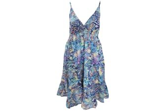 Womens/Ladies Dot And Leaf Pattern Strappy Crossover Summer Dress (Blue)